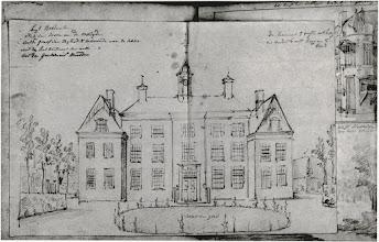 Photo: 1777 Huis Bosdal van voren aan de oostzijde (tekening van D. Verrijk)