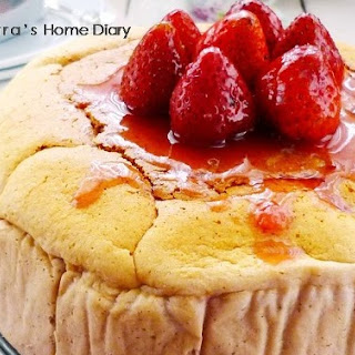 Strawberry Labneh Cheese Souffle Cake with Strawberry compote.