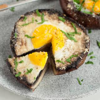 Egg Stuffed Baked Portobello Mushroom.