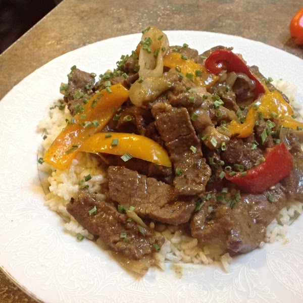 Sirloin Tip Steak With Onions & Peppers Recipe