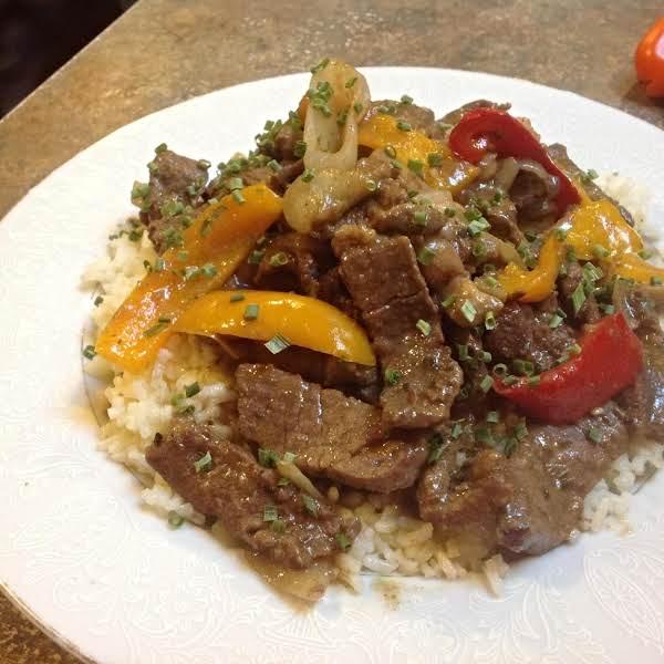 Sirloin Tip Steak W/peppers & Onions