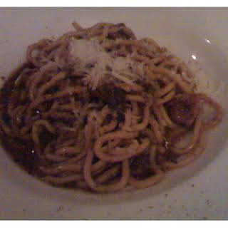 Spaghetti With Mushroom, Bacon And Bechamel.