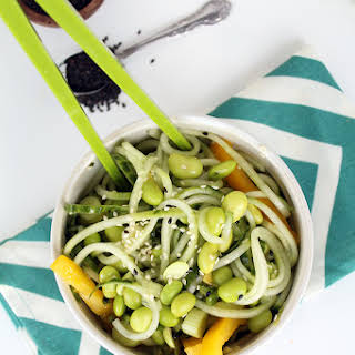 Sesame-Ginger Cucumber Salad with Mint and Edamame.