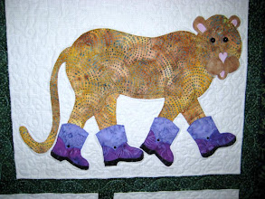 Photo: Closer view of the leopard from Needles & Friends Quilt Guild, Liberal, Kansas.