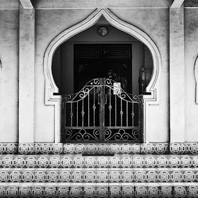 Masjid Gate by Andhika Satya - Landscapes Travel ( masjid, black and white, gate )