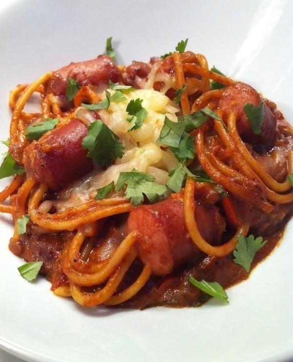 Smoky Sausage & Cheesy-peach B-b-q Spaghetti Recipe