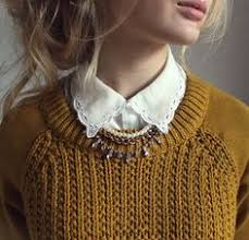 Image result for knitted sweaters paired with pearl necklace