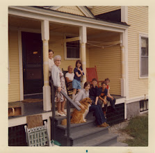 Photo: The family in Danville: Gerry (standing in back), Mildred. Sitting, l to r, Gordon, Judy, Wags, Linda, Kenneth, Matt (Lois' son) and Alan.