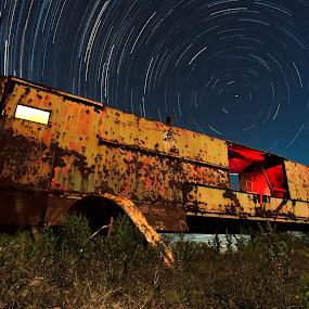 Sinister Happenings by Jim O'Neill - Artistic Objects Industrial Objects ( speedlight, rhome, speedlights, texas, star trails, night sky, nightscape )