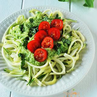 Zucchini Pasta with Avocado Dressing