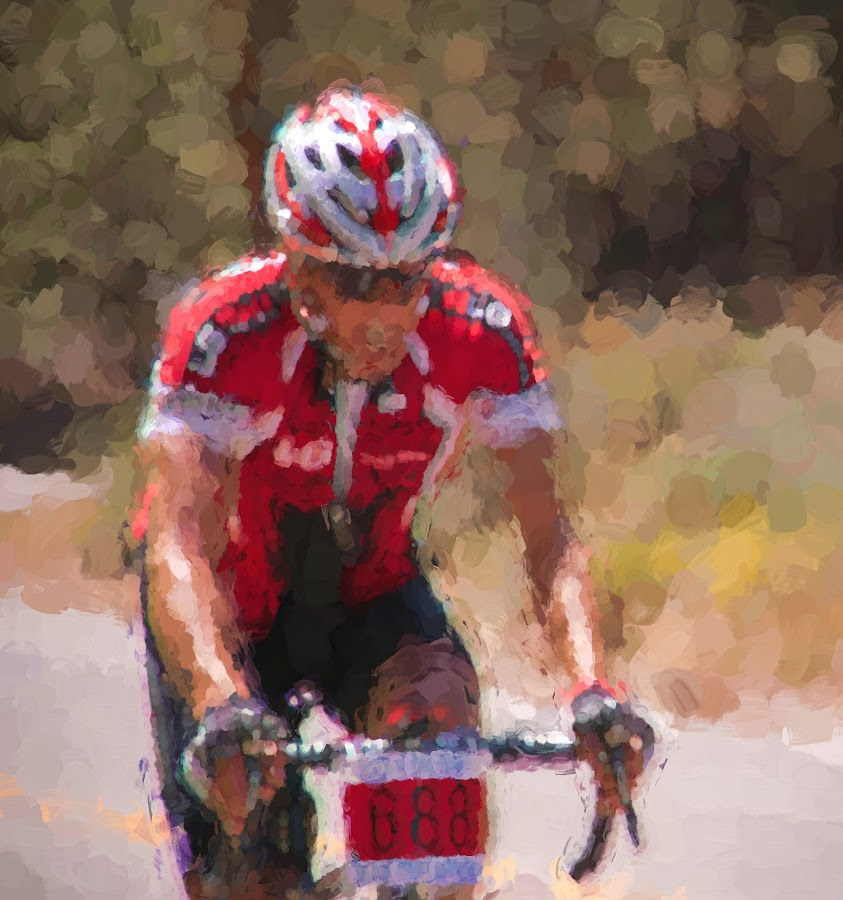 Abstract Biker by Dale Fillmore - Digital Art People ( red, modern art, cyclist, sports, abstract )