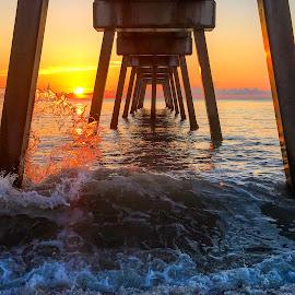 Sun kissed ocean by Etta Cox - Instagram & Mobile iPhone ( ocean beach sunrise waves pier sunrise,  )