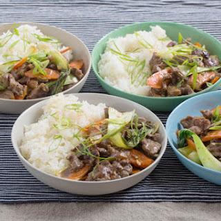 Hoisin Beef & Vegetable Stir-Fry with Fairy Tale Eggplants & Garlic Rice