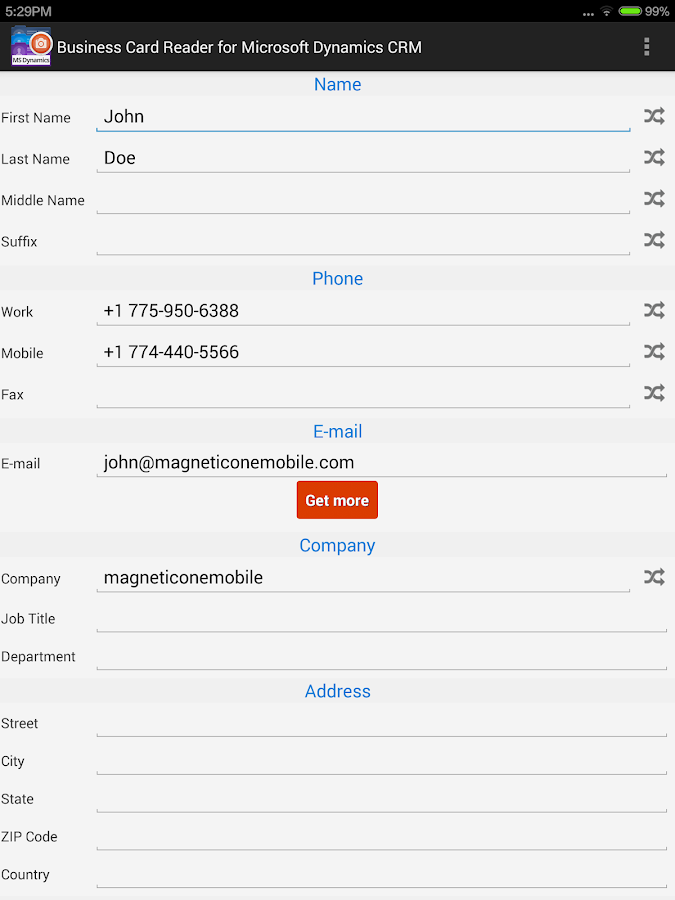 Business Card Reader for MS Dynamics CRM - Android Apps on Google Play