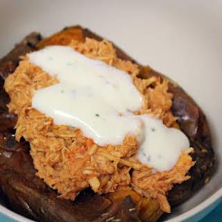 Crockpot magic tricks (slow cooker Buffalo chicken stuffed sweet potatoes).