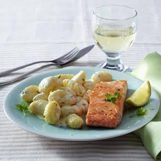 Salmon with Gnocchi in Lemon Sauce.