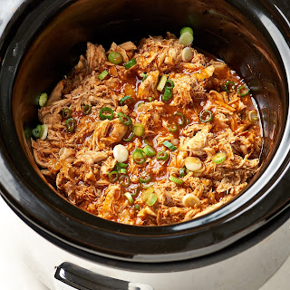 Slow Cooker BBQ Shredded Chicken.