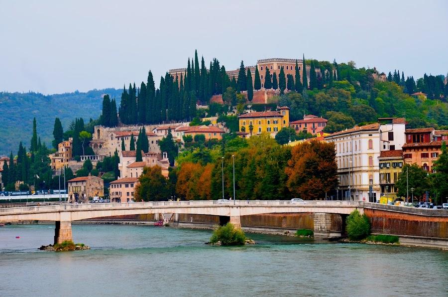 Verona on the Adige River by Dave Feldkamp - Landscapes Mountains & Hills ( verona, adige river, bridge, italy, river,  )