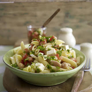 Warm Penne Salad with White Beans and Tomatoes.