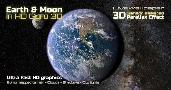 Earth & Moon in HD Gyro 3D- screenshot thumbnail