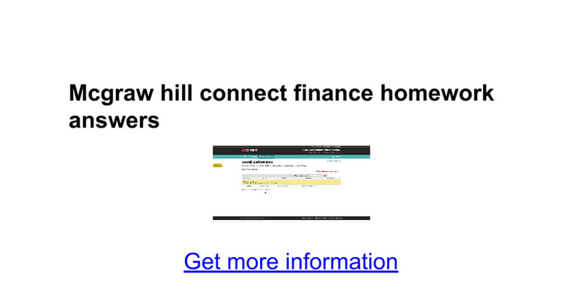 Mcgraw hill connect finance homework answers - Google Docs
