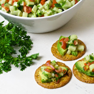 Crackers with Cucumber Relish.