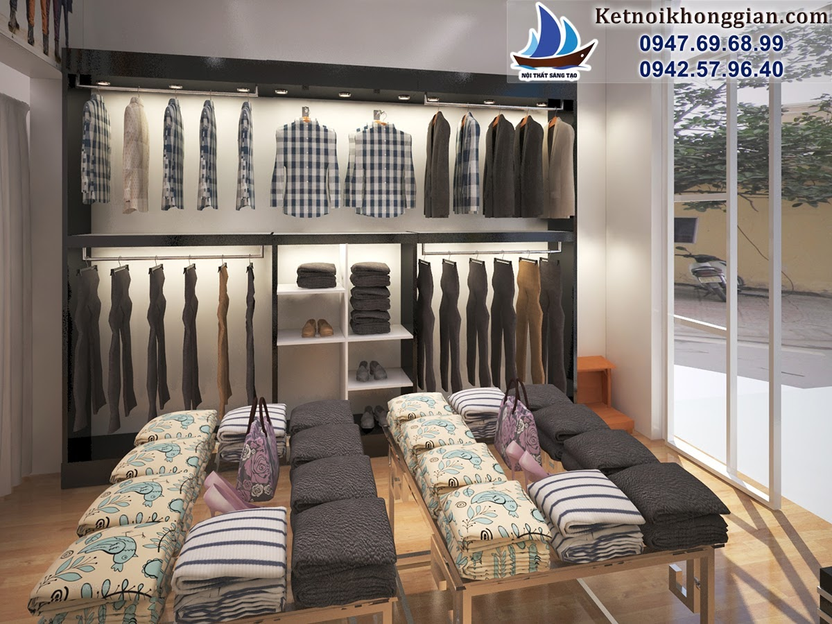 thiết kế cửa hàng thời trang giá rẻ lịch sự bóng bẩy