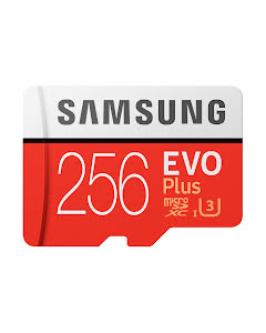 Samsung 256GB EVO Plus microSDXC 100 MB/s UHS-I U3 Class 10 Memory Card with SD Adapter