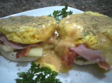 Pretender Eggs Benedict With Asparagus, Bacon, Ham, And Swiss Cheese Recipe