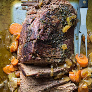 Slow Cooker Pot Roast with Garden Vegetables.