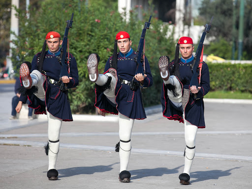 The Evzones' Changing of the Guard ceremony in Athens takes place on the hour 24 times a day.