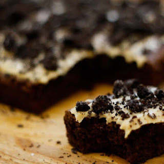 Brownies With Espresso Cream Cheese Frosting, Crushed Oreos, And Sea Salt