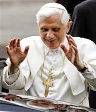 """Photo: Pope Benedict XVI waves at faithful as he arrives in Lorenzago di Cadore, near Belluno, Italy, Monday, July 9, 2007.  The Pontiff began his Alpine vacation Monday in this  mountain resort of the Dolomites where he will remain untill July 27. Benedict's private vacation was described as a """"period of rest,"""" although the 80-year-old pontiff has two scheduled appearances, on July 15 and July 22, to deliver the traditional Sunday noon Angelus prayer. (AP Photo/Antonio Calanni)"""