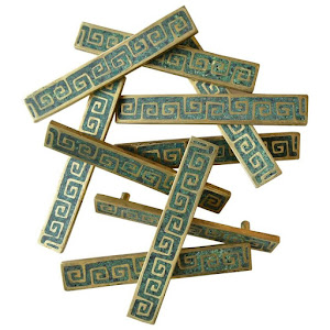 Set of Ten Brass and Ceramic Inlay Hardware Pulls by Pepe Mendoza, ca. 1954