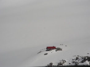 Photo: Plateau Hut, from the air, above Mt Cook's Grand Plateau.