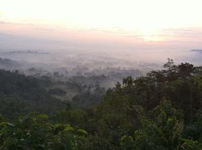 Photo: View of the sunrise over Borobudur from Punthuk Setumbu.  Yogyakata, Indonesia.  Enero 2014