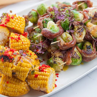 BBQ Brussels Sprout Skewers with Almond Miso Butter Recipe