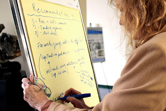 Photo: Ann Marie Thro takes notes on suggested recommendations for networks.