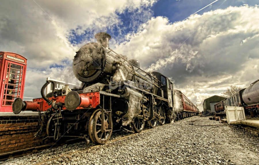 Ready to Depart by Dave Smith - Transportation Trains ( red, railway, phone box, blue, engine, station, locomotive, track, train, landscape, steam )