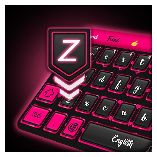 Keyboard Pink Neon Theme