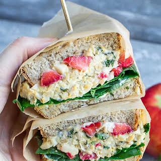 Strawberry Basil Chickpea Salad Sandwich.