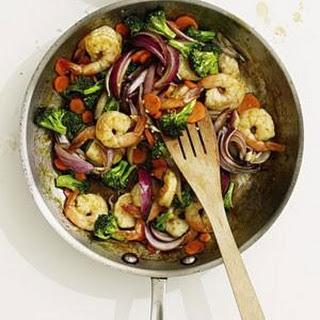 Stir-Fried Shrimp and Broccoli.