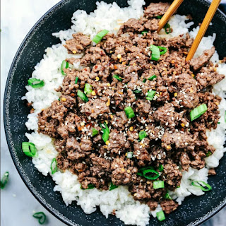 Korean Ground Beef and Rice Bowls.