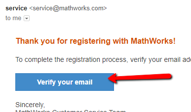 MathWorks Verify Email