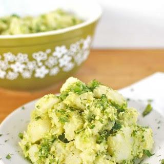 Vegan Avocado Potato Salad with Dill & Cilantro.