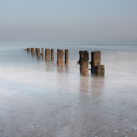 Youghal strand 28-05 by John Holmes - Buildings & Architecture Other Exteriors ( colour, pebbles, beach, sunset, groynes, sand sea, stones, long exposure )