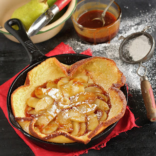 Salted Bourbon Caramel Apple and Pear Dutch Baby