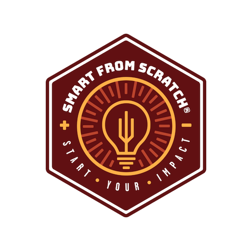 Image of a golden light bulb in a maroon circle with words Smart From Scratch and Start Your Impact surrounding