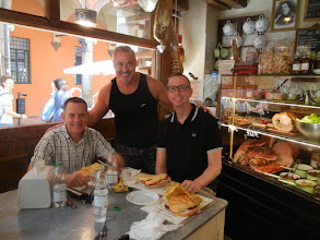 Photo: Me, Frank, and Chris eating sandwiches at La Prosciutteria