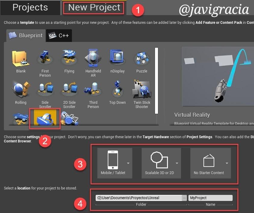 New Project UE4 Editor